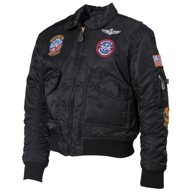 US Kinder-Pilotenjacke, CWU, schwarz, mit Fliegerabzeichen S