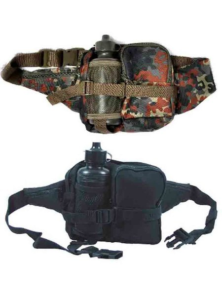 Sporttaschen & Rucksäcke Bauchtasche mit Trinkflasche Schwarz BW Flecktarn Gürteltasche Outdoor Bag