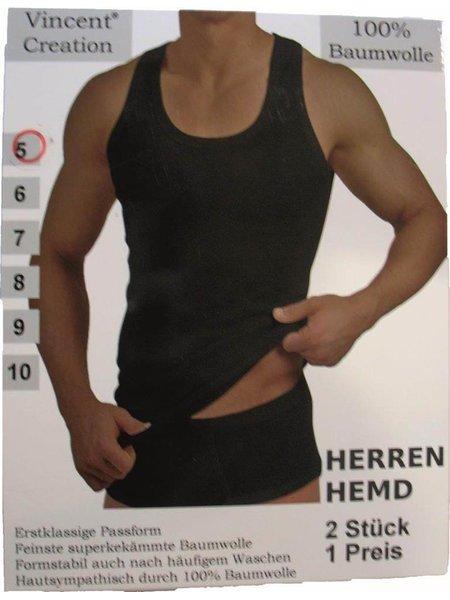 73c83ec14fb4eb Herren Unterhemd -Tank Shirt, Feinripp in Schwarz 2er Pack